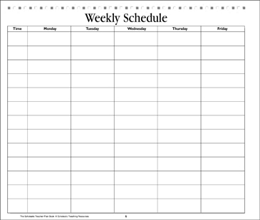 Weekly Schedule: Teacher Resource - Printable Worksheet