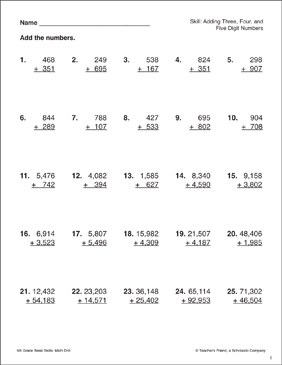 Adding Three-, Four-, and Five-Digit Numbers - Printable Worksheet