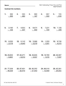 Subtracting Three-, Four-, and Five- Digit Numbers - Printable Worksheet