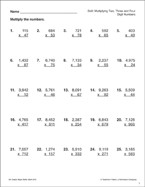 Multiplying Two-, Three-, and Four-Digit Numbers - Printable Worksheet