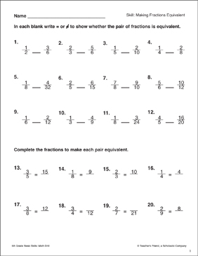 Making Fractions Equivalent - Printable Worksheet