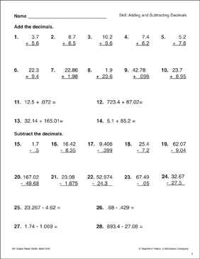 Adding and Subtracting Decimals - Printable Worksheet