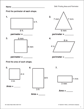 Finding Area and Perimeter - Printable Worksheet