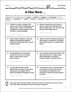 In Other Words (Classification) - Printable Worksheet
