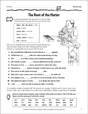 The Root of the Matter (Word roots) - Printable Worksheet