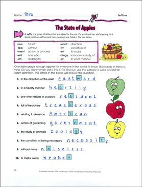 The State of Apples (Suffixes) - Printable Worksheet