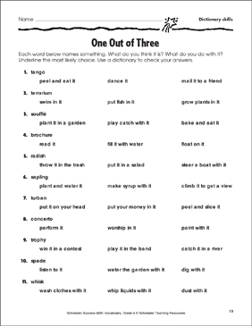 One Out of Three (Dictionary skills) - Printable Worksheet
