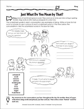 Just What Do You Mean By That? (Slang) - Printable Worksheet