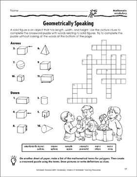Geometrically Speaking (Mathematic Vocabulary) - Printable Worksheet
