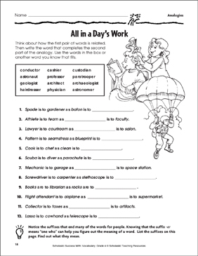 All in a Day's Work (Analogies) - Printable Worksheet