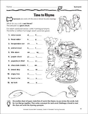Time to Rhyme (Synonyms) - Printable Worksheet