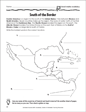 South of the Border (Social Studies Vocabulary) - Printable Worksheet