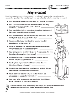 Adopt or Adapt? (Commonly Confused Words) - Printable Worksheet