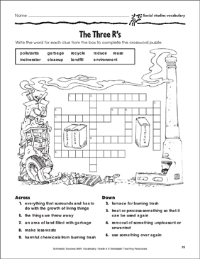 The Three Rs Crossword Puzzle Page Social Studies Vocabulary