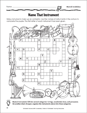 Name That Instrument Puzzle Page (Musical Vocabulary) - Printable Worksheet