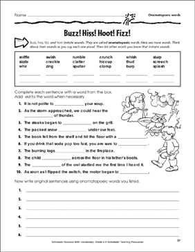 Buzz! Hiss! Hoot! Fizz! (Onomatopoeic Words) - Printable Worksheet