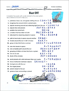 Blast Off! (Science Vocabulary Puzzle) - Printable Worksheet