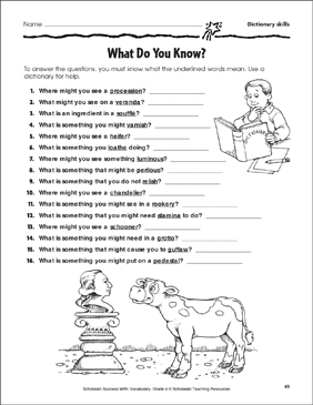 What Do You Know? (Dictionary Skills) - Printable Worksheet