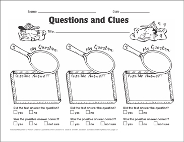 Questions and Clues (asking questions): Graphic Organizer - Printable Worksheet