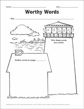Worthy Words (word choice): Graphic Organizer - Printable Worksheet