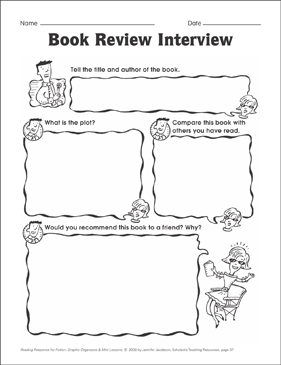 Book Review Interview (summarizing): Graphic Organizer - Printable Worksheet
