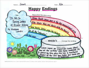 Happy Endings (analyzing story endings): Graphic Organizer - Printable Worksheet