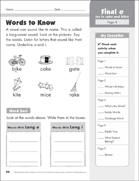 Final e (CVCe): Phonics Packet - Printable Worksheet