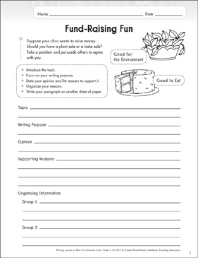 Fund-Raising Fun: Grade 5 Opinion Writing Lesson - Printable Worksheet