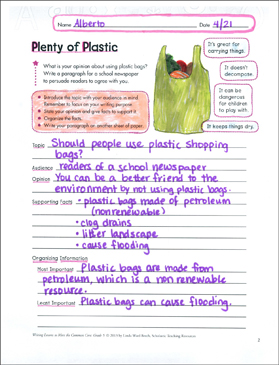 Plenty of Plastic: Grade 5 Opinion Writing Lesson - Printable Worksheet