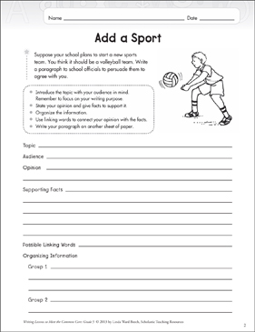 Add a Sport (Opinion) - Printable Worksheet