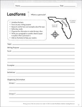 Landforms: Grade 5 Informative Writing Lesson | Printable ...