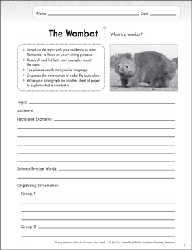 The Wombat: Grade 5 Informative Writing Lesson - Printable Worksheet