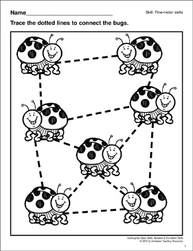 Tracing Angled Lines Ladybugs: Fine-Motor Skills - Printable Worksheet