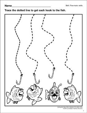 Tracing Curved Lines Fish: Fine-Motor Skills - Printable Worksheet