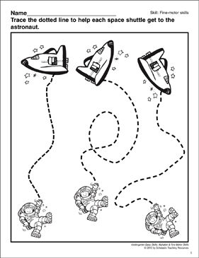 Tracing Curved Lines Astronauts: Fine-Motor Skills - Printable Worksheet