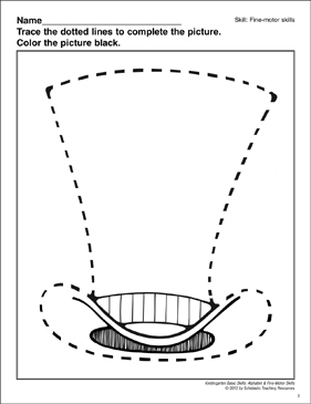 Tracing a Dotted Lined Top Hat: Fine-Motor Skills - Printable Worksheet