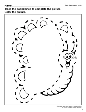Tracing a Dotted Line Butterfly: Fine-Motor Skills - Printable Worksheet