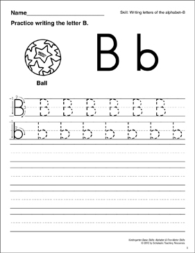 Learning the Letter B: Basic Skills (Alphabet) - Printable Worksheet