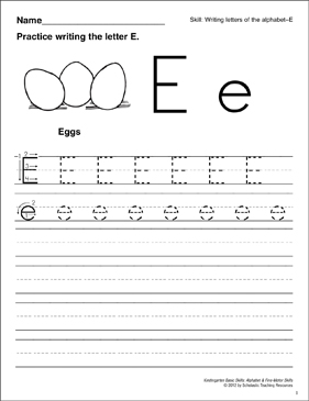 Learning the Letter E: Basic Skills (Alphabet) - Printable Worksheet