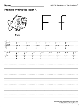 Learning the Letter F: Basic Skills (Alphabet) - Printable Worksheet
