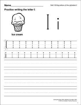 Learning the Letter I: Basic Skills (Alphabet) - Printable Worksheet