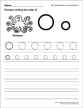 Learning the Letter O: Basic Skills (Alphabet) - Printable Worksheet