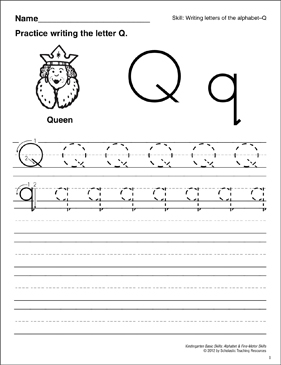 Learning the Letter Q: Basic Skills (Alphabet) - Printable Worksheet