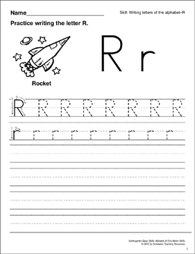 Learning the Letter R: Basic Skills (Alphabet) - Printable Worksheet