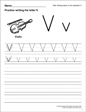 Learning the Letter V: Basic Skills (Alphabet) - Printable Worksheet