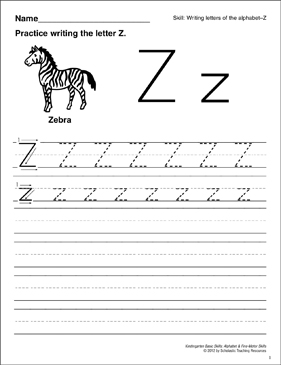 Learning the Letter Z: Basic Skills (Alphabet) - Printable Worksheet