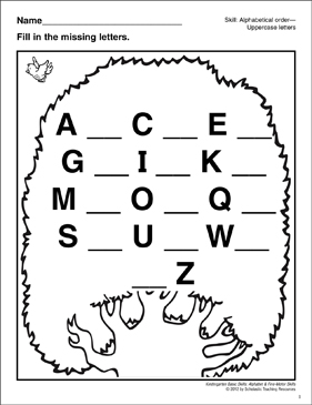 Uppercase Missing Letters–Tree: Basic Skills - Printable Worksheet