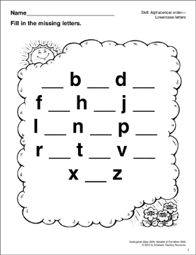 Lowercase Missing Letters–Cloud: Basic Skills - Printable Worksheet