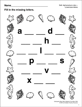Lowercase Missing Letters–Seashore: Basic Skills - Printable Worksheet