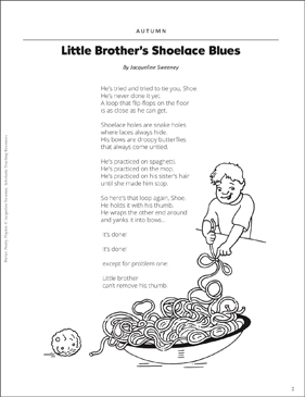 Little Brother's Shoelace Blues: Autumn Poetry Playlet - Printable Worksheet